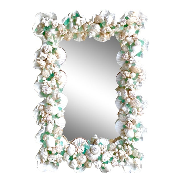 Contemporary Coastal Custom Shell and Sea Glass Mirror For Sale