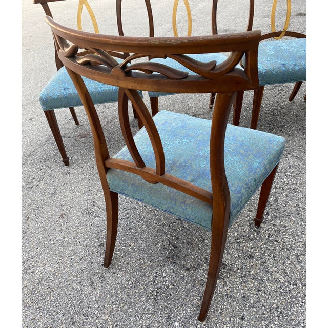 Late 20th Century Late 20th Century Baker Furniture Curved Italian Gold Leaf Regency Dining Chairs, Set of Six For Sale - Image 5 of 13