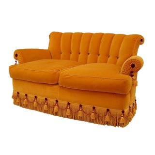 French Victorian Style Gold Silk Velvet Loveseat For Sale