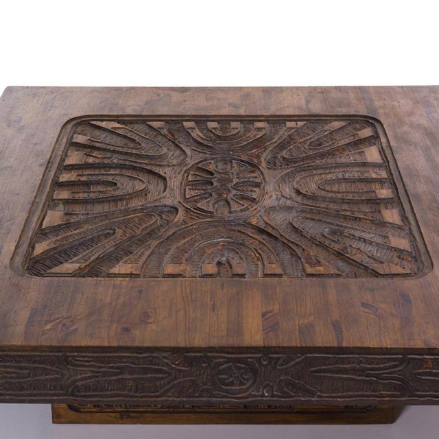 Monumental Carved Abstract Relief Coffee Table, c. 1960 For Sale - Image 4 of 7