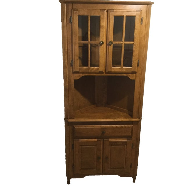 Corner Hutch/Buffet/China Cabinet - Handcrafted, Solid Birch - Image 1 of 10