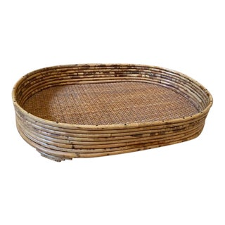 Mid Century French Oblong Rattan Tray For Sale