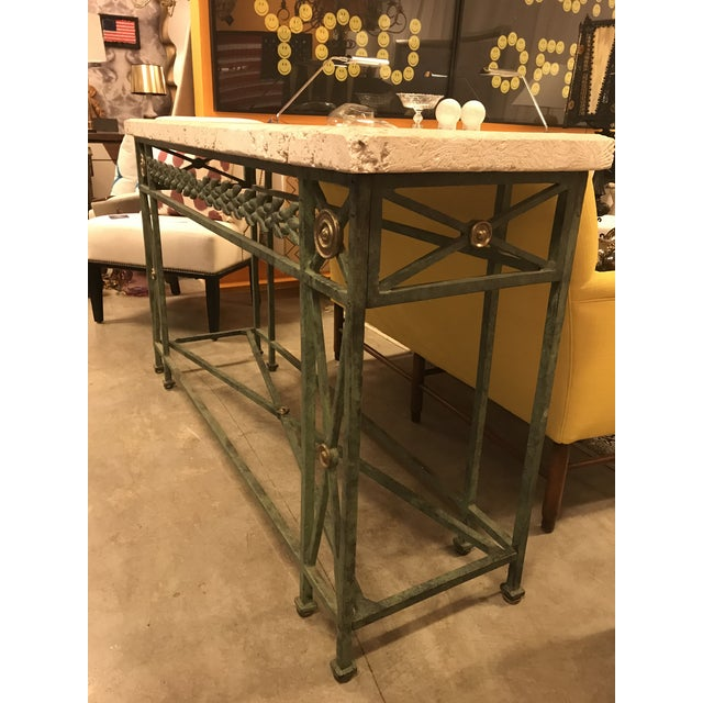 Coral Stone Top, Verdigris Wrought Iron Console, W/ Brass Accents For Sale In Miami - Image 6 of 8