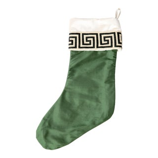 Emerald Silk Greek Key Stocking For Sale