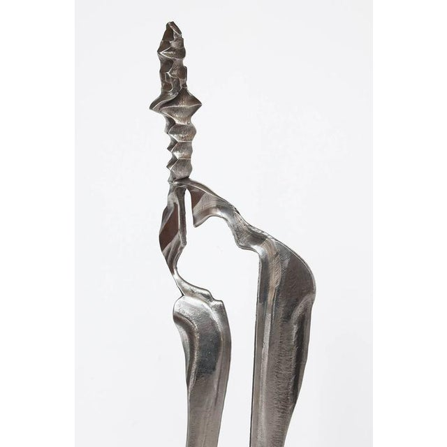 Set Two Cast Aluminum Modernist Abstract Sculptures For Sale - Image 10 of 11