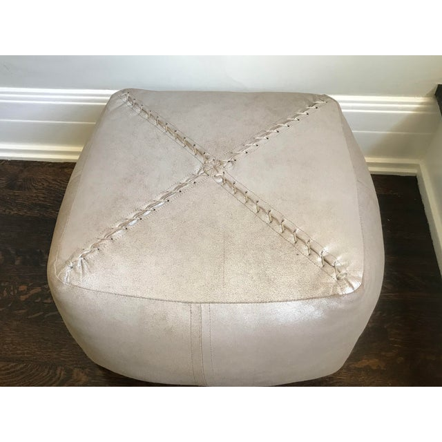 Modern Modern Dosa Silver Pouf For Sale - Image 3 of 5