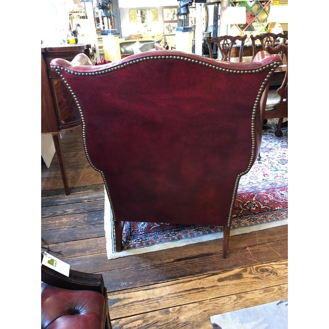 Red 1950s Vintage Maroon Leather Wingback Chair For Sale - Image 8 of 13