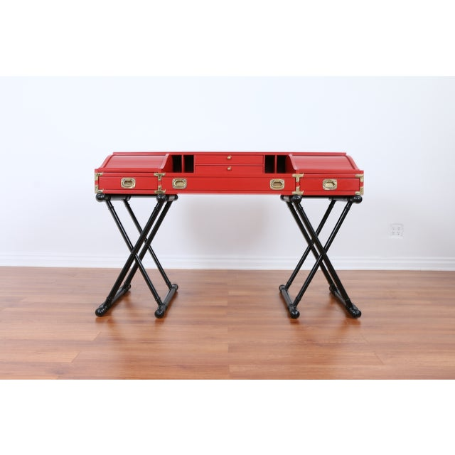 Red Hollywood Regency Campaign Executive Desk - Image 3 of 6
