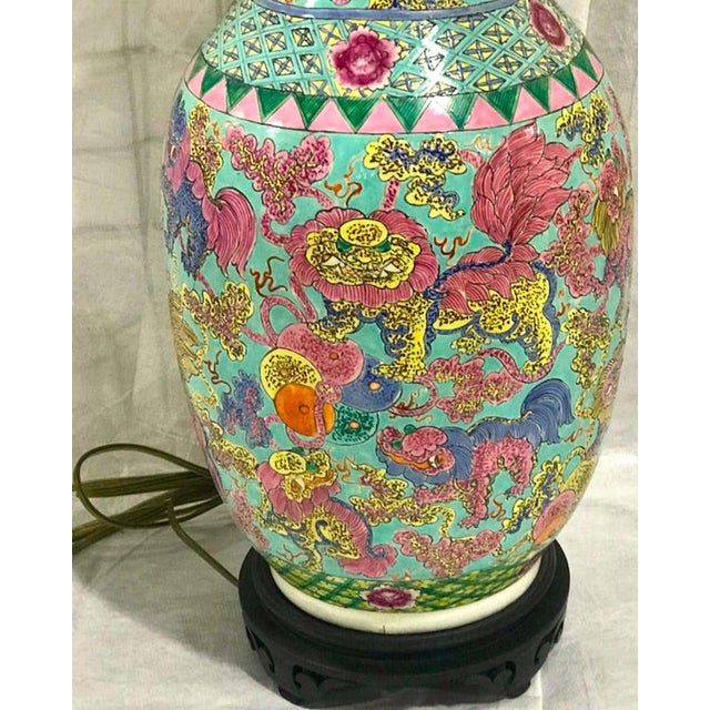 Green Exquisite Chinese Famille Rose Foo Dog Motif Vase, Now as a Lamp For Sale - Image 8 of 10