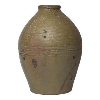 """14"""" Tall 18th Century Meiji Japanese Green Provencial Decorative Vase For Sale"""
