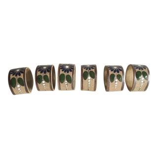 Mexican Stoneware Napkin Rings W Blue Flowers - Set of 6