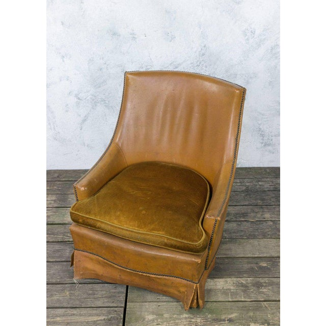 French Leather Armchair With Brass Nailheads - Image 9 of 10