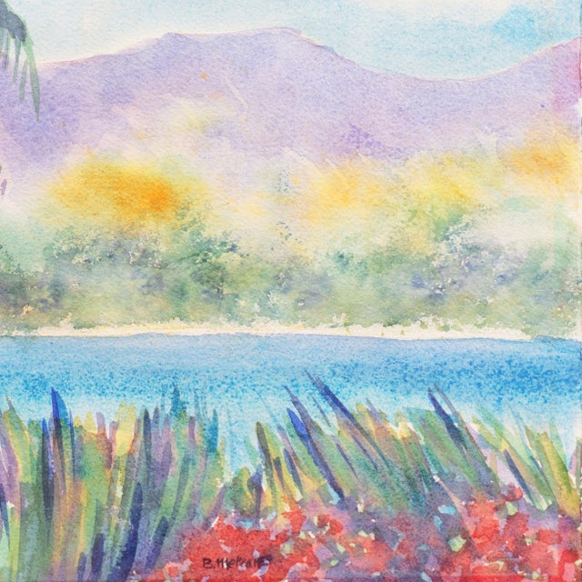 'Tropical Lagoon' by B. Metcalf, Impressionist Landscape With Palm Trees and Bougainvillea For Sale - Image 4 of 7