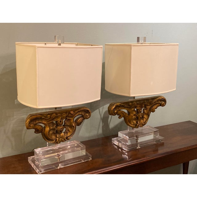 French Vintage Gilt Wood Fragment Lamps - a Pair For Sale - Image 3 of 7