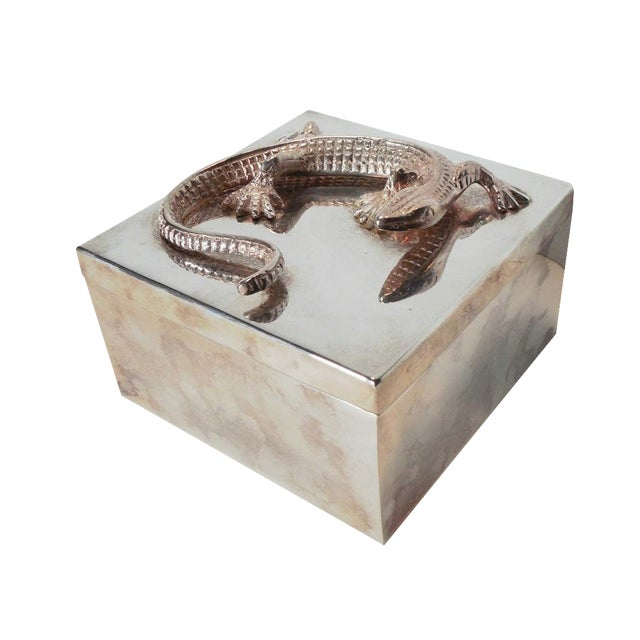 Silvered Metal Lizard Box - Image 1 of 6