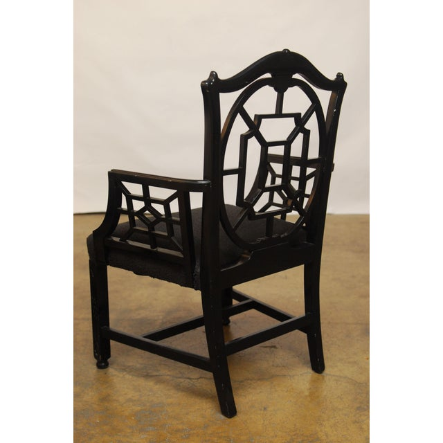 Black Lacquer Chinese Chippendale Armchair - Pair - Image 6 of 7
