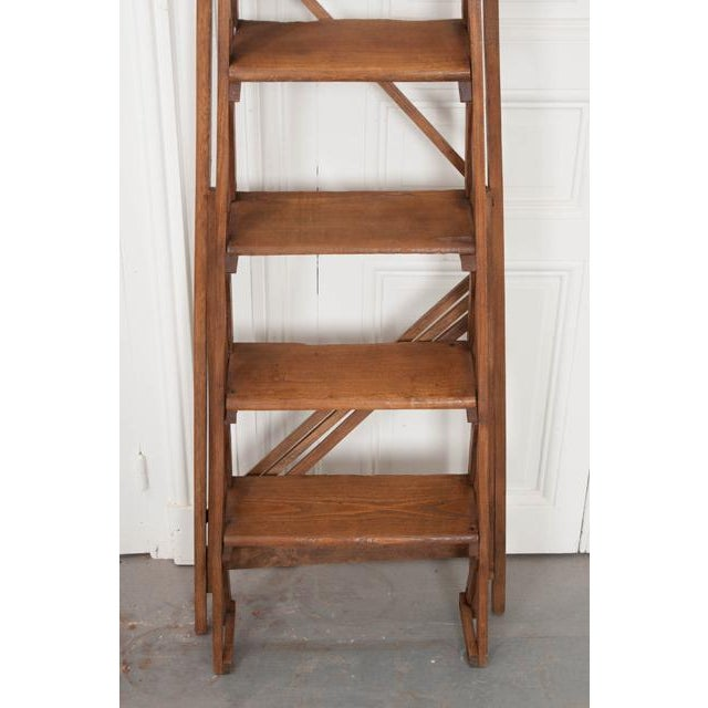 French Early 20th Century Oak Folding Ladder For Sale - Image 11 of 13
