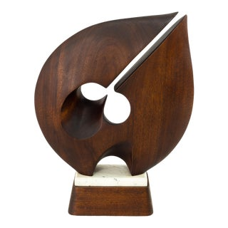 Abstract Mid Century Dark Walnut and Marble Tabletop Sculpture For Sale