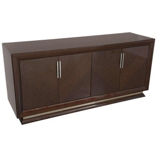 Art Deco Style Italian Lacquered Wood Credenza or Buffet with Polished Nickel