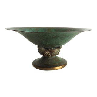 1920s Art Deco Carl Sorensen Bronze Footed Bowl For Sale