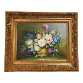 Vintage Floral Still Life Oil Painting on Canvas For Sale