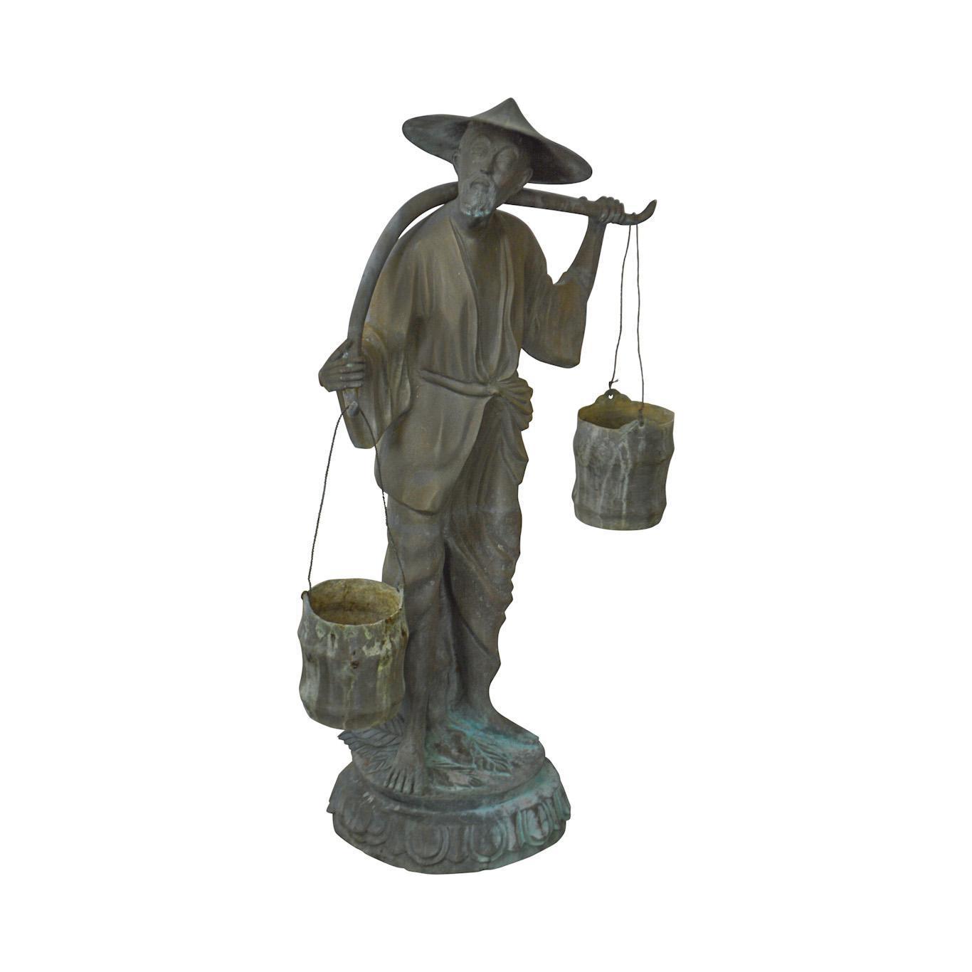 Bronze Weathered Asian Garden Statue Of Man Carrying Water Buckets