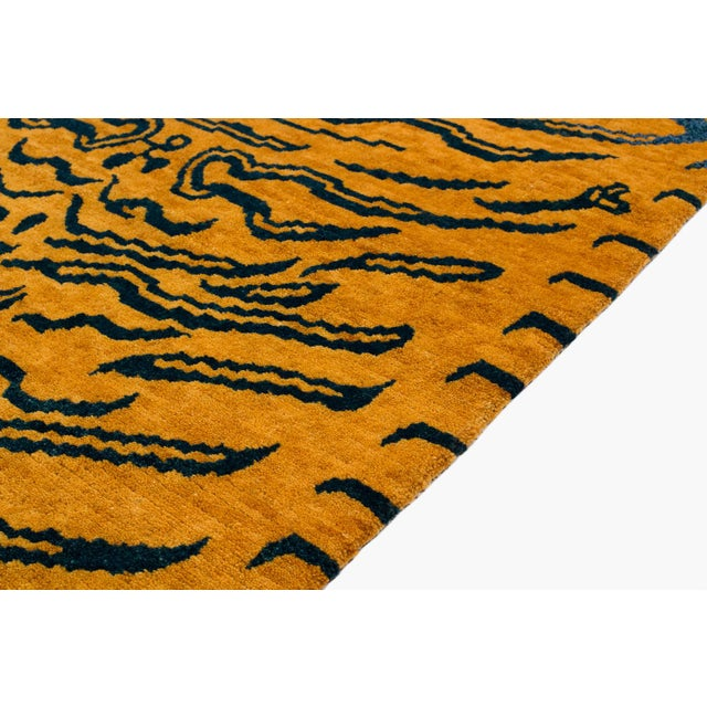 Indigo Blue and Gold Wool Tiger Rug-3′ × 6′ For Sale In New York - Image 6 of 8