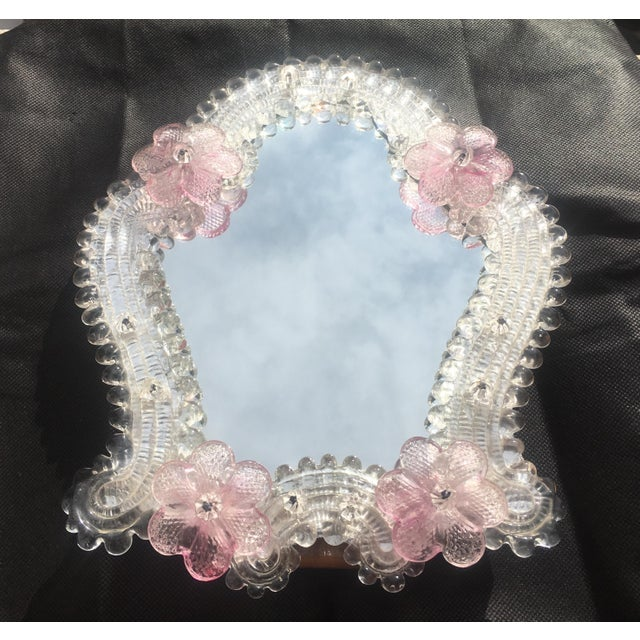 Glass Italian Venetian Murano Glass Wall Mirror With Pink Rosettes, 1950s For Sale - Image 7 of 11