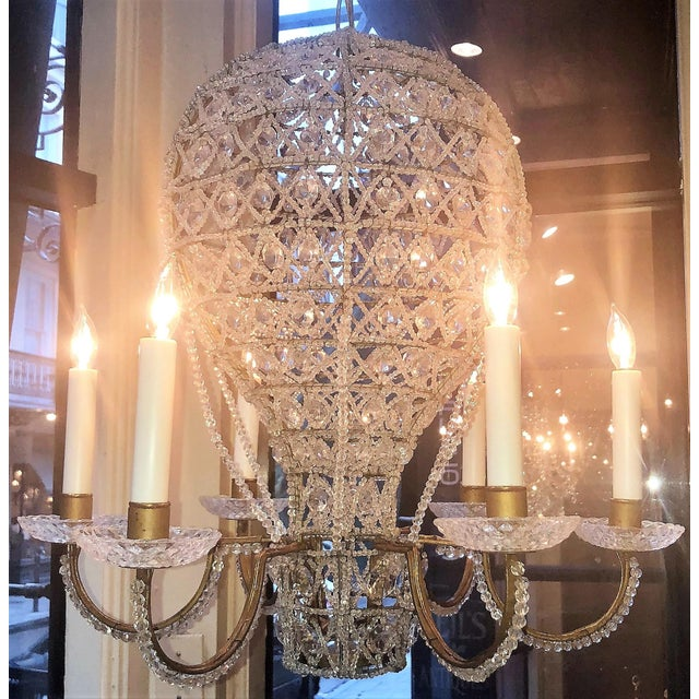 "Belle Epoque Estate Crystal Beaded Balloon Chandelier Called ""Montgofier"" For Sale - Image 3 of 5"