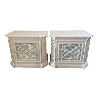 1960s Hollywood Regency White and Mirrored Night Stands - a Pair For Sale