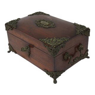 Late 19th Century Antique Mahogany & Bronze Cigar Humidor For Sale