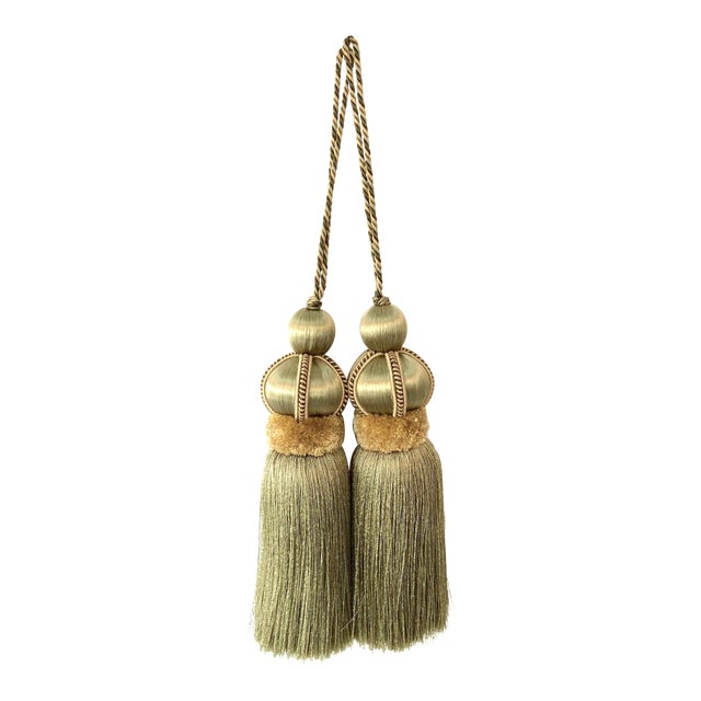 Olive Green Key Tassels With Cut Velvet Ruche - a Pair For Sale