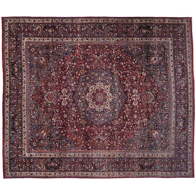 Textile Antique Persian Mashad Rug with Art Nouveau Style For Sale - Image 7 of 9
