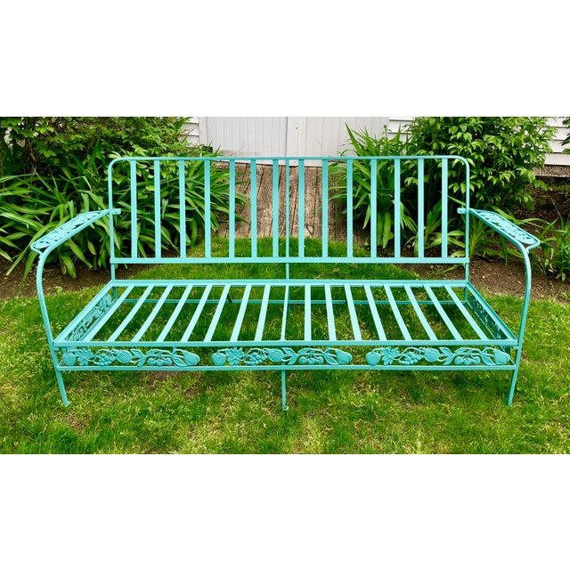 Vintage Woodard Style Blue Wrought Iron Sofa With Harvest Motif For Sale - Image 9 of 9