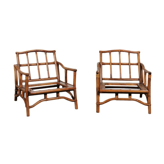 Beautiful Restored Pair of Pagoda Style Loungers by Ficks Reed, circa 1970 For Sale