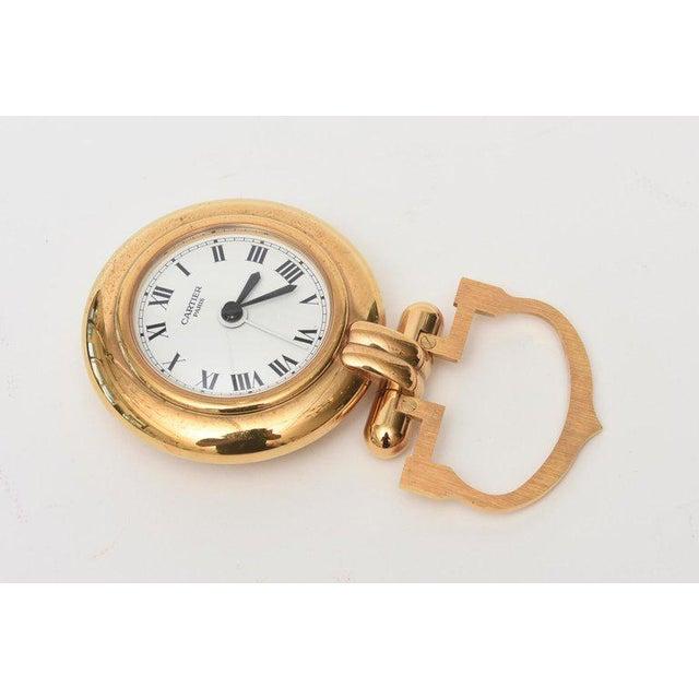 1990s Cartier 24 Karat Gold Plated Travel Quartz Desk Clock/ Desk Accessory For Sale - Image 5 of 11