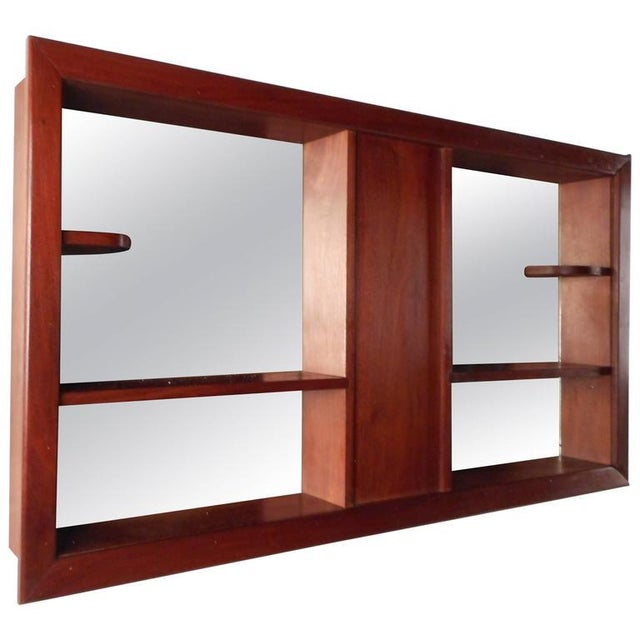 Wood Mid-Century Modern Walnut and Mirrored Shadow Box For Sale - Image 7 of 7