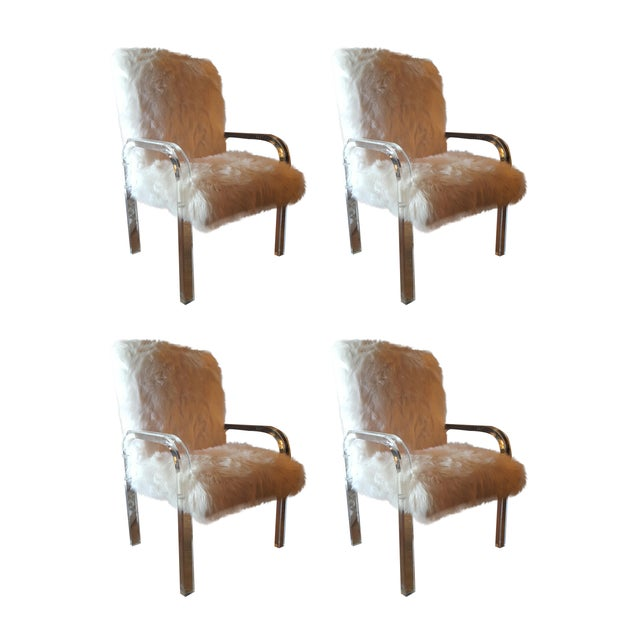 1970's Vintage Faux Fur & Lucite Chairs - Set of 4 - Image 1 of 5
