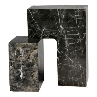 Found II Black Marble Side Table by a Space For Sale