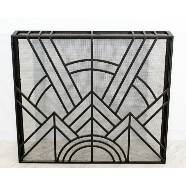 """For your consideration is a fabulous, iron fireplace screen. In excellent condition. The dimensions are 40"""" W x 6"""" D x..."""