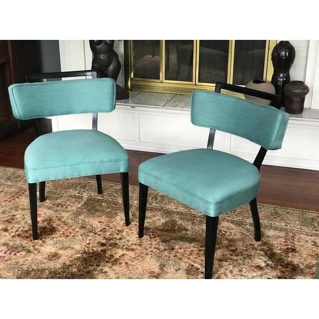 2000 - 2009 Modern Black Lacquer and Teal Accent Chairs - A Pair For Sale - Image 5 of 13
