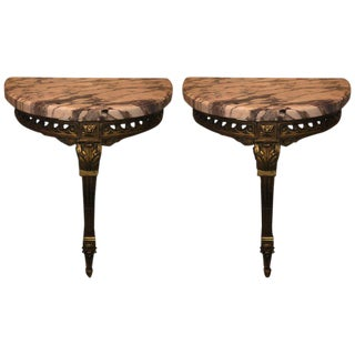 Pair of Gilt Gold Louis XVI Maison Jansen Wall Mount Demi Lune Console Tables For Sale