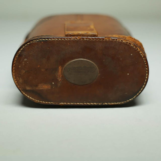 Leather Wrapped Binoculars and Leather Case C. 1940-1950s For Sale - Image 9 of 11