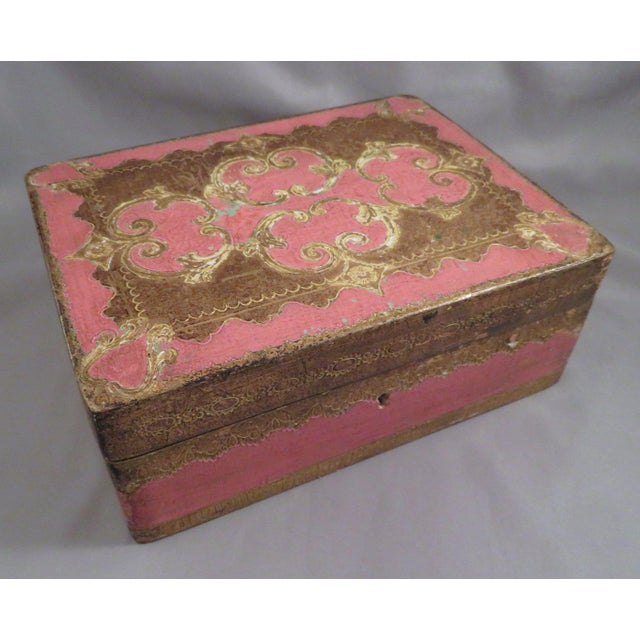 Gold Vintage Pink & Gold Florentine Wooden Box For Sale - Image 7 of 7