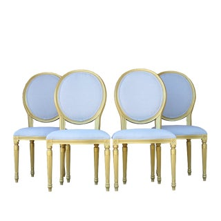 1980s Vintage French Upholstered Louis XVI Oval Back Dining Chairs- Set of 4 For Sale