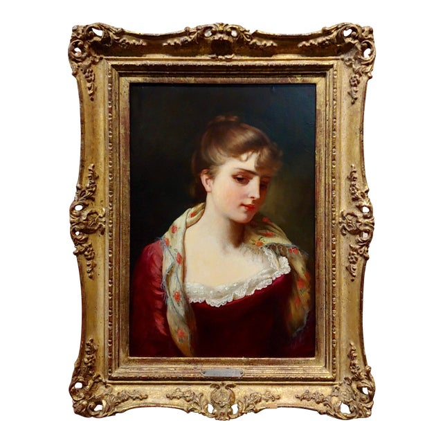 """19th Century Gustave Jean Jacquet """"Portrait of an Elegant Young Lady"""" Oil Painting For Sale"""