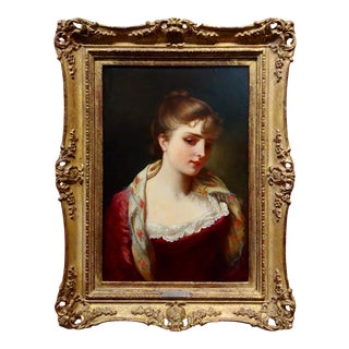 Gustave Jean Jacquet -Portrait of an Elegant Young Lady- 19th Century Oil Painting For Sale
