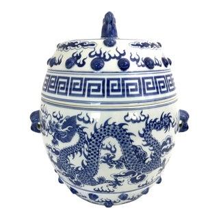 Large Blue & White Chinese 'Running Dragon' Tureen/Ginger Jar