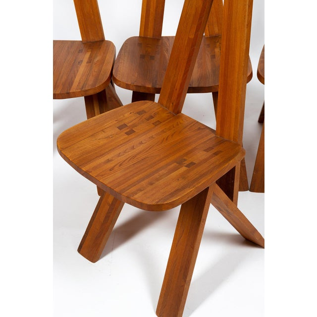 Four Chairs by Pierre Chapo S45 in Solid Elm For Sale - Image 10 of 12