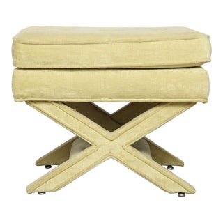 Vintage Billy Baldwin X Base Chartreuse Ottoman For Sale